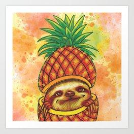 Cute sloth through a pineapple Art Print
