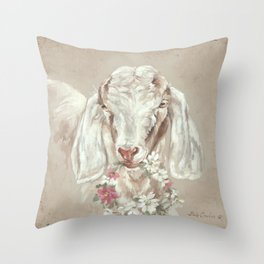Goat with Floral Wreath by Debi Coules Throw Pillow