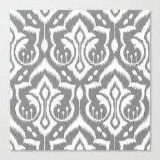 Ikat Damask Gray Canvas Print