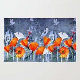 Summer night- Shadow of a Poppy meadow- Flowers on #Society6 Rug
