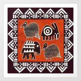 African Animal Folk Art Art Print