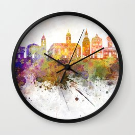 Zielona Gora  skyline in watercolor background Wall Clock