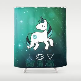 Cancer Unicorn Zodiac Shower Curtain