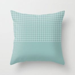 White grid on turquoise Throw Pillow