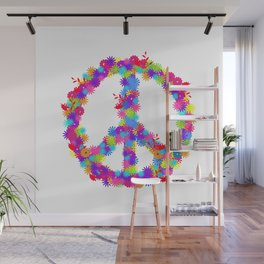 Hippie Gift 80s 90s Peace and Love Flower Power Wall Mural