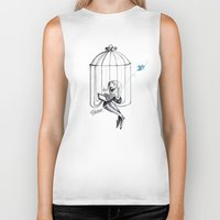 cage Biker Tanks featuring Cage by Eyad Shtaiwe