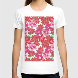 Red and Pink Poinsettias T-shirt
