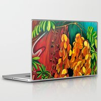 "cassia beck Laptop & iPad Skins featuring ""Cassia"", Fine Art Print, Oil painting, flowers painting, yellow, floral wall decor, flowers art by Adriana Calcines"