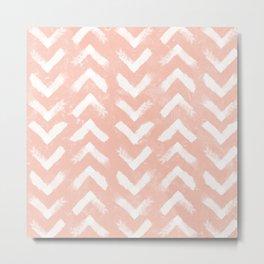 Paintbrush Arrow Pattern Blush Pink Metal Print