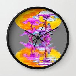 PURPLE-WHITE IRIS MOON REFLECTION Wall Clock