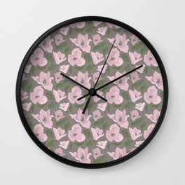 Floral seamless pattern magnolia on grey background Wall Clock