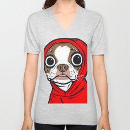 Brown Boston Terrier Hoodie Dog Unisex V-Neck