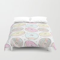 donuts Duvet Covers featuring Donuts by Inna Moreva