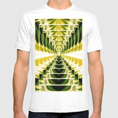 Abstract.Green,Yellow,Black,White,Lime. White Mens Fitted Tee MEDIUM