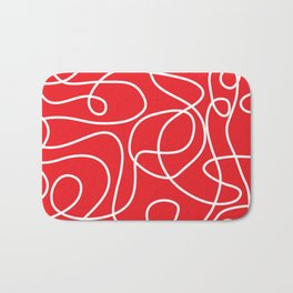 Doodle Line Art | White Lines on Bright Red Bath Mat