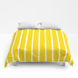 Vertical Lines (White/Gold) Comforters