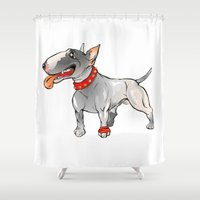 bull terrier Shower Curtains featuring Bull Terrier by Paola Canti