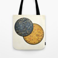 sun and moon Tote Bags featuring Sun &  Moon by Jonathan Knight