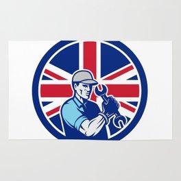 British Auto Mechanic Union Jack Flag Icon Rug