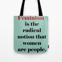 feminism Tote Bags featuring Feminism  by Illustrated by Jenny