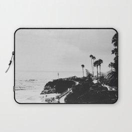 Laguna Beach   LoFi Black and White Relaxed Aesthetic Pink Sunset Palm Trees Hippie Ocean Waves Laptop Sleeve