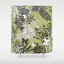 Olive , tropical pattern Shower Curtain