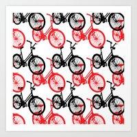 Red Bicycles Art Print