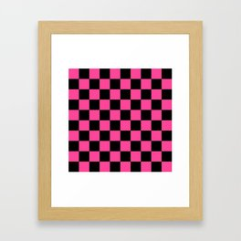 Black and Pink Checkerboard Pattern Framed Art Print