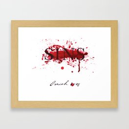 His blood blots out our sins -Isaiah 43:25 Framed Art Print