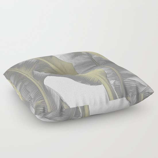 Gray Floor Pillows : Gray and Gold I Banana Leaves Floor Pillow by Nileshkikuuchise Society6