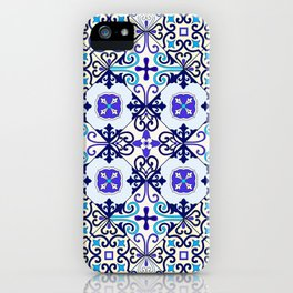 Turquoise Moroccan tile seamless pattern iPhone Case