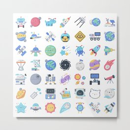 CUTE OUTER SPACE / SCIENCE / GALAXY PATTERN Metal Print