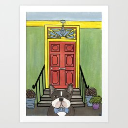 French Bulldog with Bow Tie at Green House Art Print