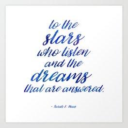 To The Stars - White Art Print