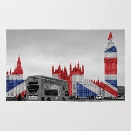 Big Ben, London Bus and Union Jack Flag Rug
