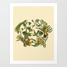 Botanical Pug Art Print
