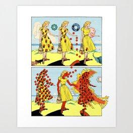 Red Bullets Dress Girl On Fire Art Print