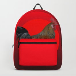 Polygonal Rooster leghorn cock on the red sun Backpack