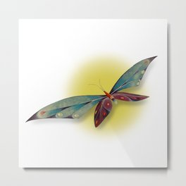 Fantasy Dragonfly Over the Sun Metal Print