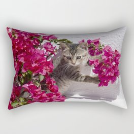 Kitten in bougainvillaea flowers Rectangular Pillow