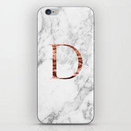 Monogram rose gold marble D iPhone Skin