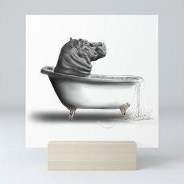 Hippo in Bath Mini Art Print