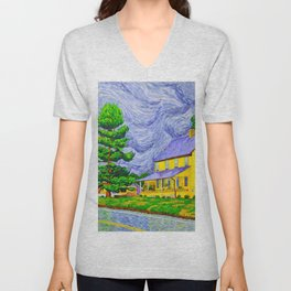 House and Barn in West Grove Unisex V-Neck