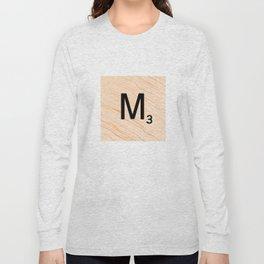 Scrabble Letter M - Large Scrabble Tiles Long Sleeve T-shirt