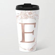Letter E Rose Gold Pink Initial Monogram Metal Travel Mug