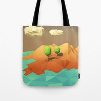 low poly Tote Bags featuring Low Poly Landscape by error23