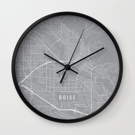 Boise Map, Idaho USA - Pewter Wall Clock