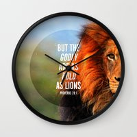 narnia Wall Clocks featuring BOLD AS LIONS by Pocket Fuel