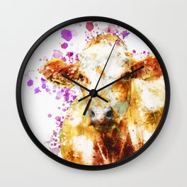 Watercolor Cow Painting, Cow Print, Cow Design, Watercolor Splatter Wall Clock