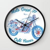 cafe racer Wall Clocks featuring moto guzzi - cafe racer by dareba